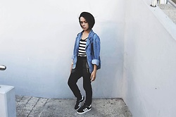 Kylie Rodriguez - H&M Oversized Denim Jacket, People Are Striped Tank Top, Bench Black Jogger Pants, Adidas Campus - I lost myself in your changing tides.