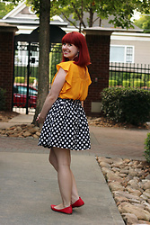 Jamie Rose - Target Mustard Yellow Top, Forever 21 Polka Dot Skirt, Forever 21 Red Flats - Primary Colors