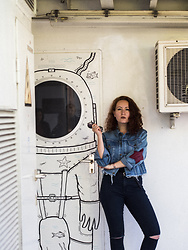 Anna Okonishnikova - Jollychic Denim Jacket, Pull & Bear Jeans - KID OF THE 80'S