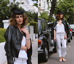 Denisia A. - Laura Scott Leather Jacket, Nydj White Jeans, Jaeger Deep V Neck White T Shirt, Whistles Pink Sliders, Unode50 Silver Cuff Bracelet, Vintage Fascinator Hat - Daytime magic