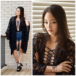 Kimberly Kong - Happy Rebel Lace Kimono, Amiclubwear Lace Up Bodysuit, Aeropostale High Waisted Shorts, Wild Diva Platform Heels - Sensible Stylista x Trollbeads