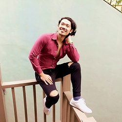 Jernih Agapito - Maroon Long Sleeved Polo, Oxygen Jogger Pants, Sm Milanos White - My Thousands of Reasons to Smile