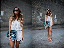 Maria Vizuete - Revolve White Romper, Sole Society Ethnic Clutch, Sole Society Lace Up Sandals - TRENDING: LACE-UP SANDALS.