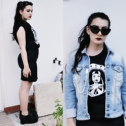 Anna Garavello - Gas Jeans Jacket, Obag Ochive, Ebay Creepers Triple Sole, Sheat Skirt, 50s Eyecat Sunglasses, Flowery Earrings, Lipstick Matte, Tostadora.It Top 'Yes To All' - Yes to All