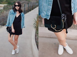 Taylor Smith - Topshop Jean Jacket, Slip Dress, Zara Sneakers, Chloe Faye - Summer Slip