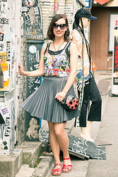 Lindsey Puls - Marvel Comics Tank Top, Modcloth Pleated Skirt, Salt Water Sandals Red, Nila Anthony Purse - Adventures in Harajuku: Outfit