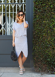 Camille - Celine Sunglasses, Alexander Wang Black Handbag, Vince Gray Platform Sandals - All Gray
