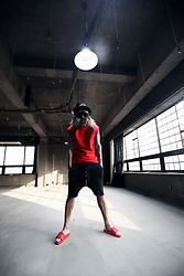 INWON LEE - Byther Black Studded Custom Fedora Hat, Byther Diagonal Zipper Line Red Sleeveless Shirt, Byther Zipper Line Black Baggy Training Shorts - Red Spiky Diagonal Zipper Casual