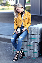 Anita VDH - Zara Faux Leather Jacket, Public Desire Lace Heels, Subdued Ripped Boyfriend Jeans, Urban Outfitters Bandana - Touch of yellow