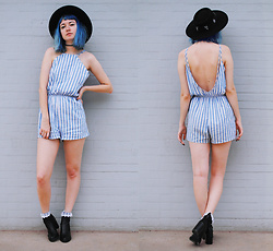 Gigi M. - Shein Blue Striped Romper - Bluebell