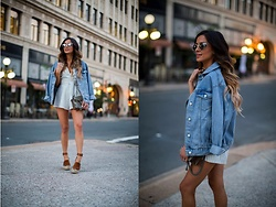 Maria Vizuete - Topshop Denim Jacket, Nordstrom Striped Romper, Nordstrom Marc Fisher Wedges - FAVE: STRIPED ROMPER.