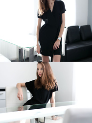 Lorietta.cz - Topshop Classic Dress, Cluse Silver Minimalistic Watch - Black Wrap Dress