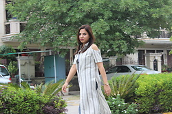 Nidhi.s - Shiflee Off The Shoulder Extra Long Shirt - Stripes today <3<3
