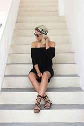 Miriam Mache - Zara Turban, Sheinside Dress - Black off-shoulder + turban