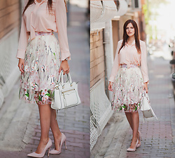 Viktoriya Sener - Sheinside Blouse, Sheinside Skirt, Rebecca Minkoff Bag, Topshop Pumps - PRETTY IN PINK