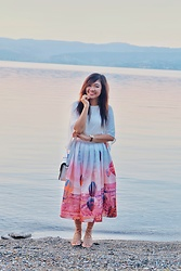 Willow Lynn - Chicwish Hot Air Balloon Skirt - Lakeside Summer Sunset