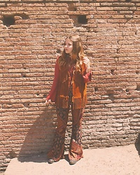 Amy Allatt - Threadsense Bells, Urban Outfitters Suede Vest, Brandy Melville Usa Bell Top - Chill Vibes..