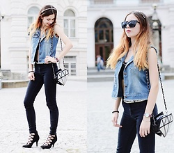 Ola Brzeska - Dresslink Jeans Vest, Bershka Jeggings, Graceland Lace Up Heels, Diamond Bag, Top With Straps, Sinsay Glasses - Diamond