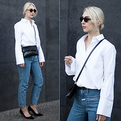 Leonie // www.noanoir.com - Kbl Eyewear Black Round Sunglasses, H&M Trend White Shirt With Oversized Sleeves, Eleven Black Leather Mini Bag, Closed High Waisted Vintage Blue Denim Jeans, Zara Black Suede Leather Kitten Heel Pumps, Weekday Golden Minimal Hoop Earrings - MBFWB Day 1
