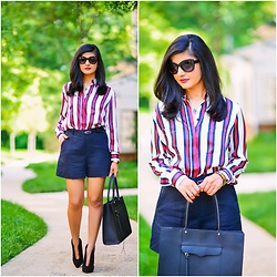 Zunera Serena - Shirt, Shorts, Bag - Tailored Shorts & Stripe Shirt