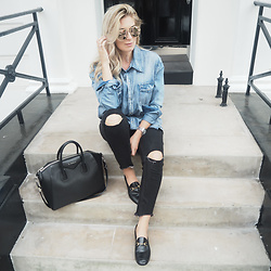 Iam Chouquette - Rose Gold Sunglasses, Gucci Loafers, Givenchy Antigona Bag, One Teaspoon Denim Shirt, Ripped Jeans, Pandora Jewellery - Make it Rose