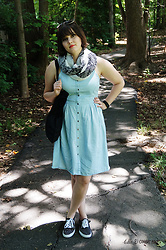 Gina S. - Old Navy Chambray Dress, Target Polka Dot Sneakers, H&M Floral Scarf - Friendly fires.