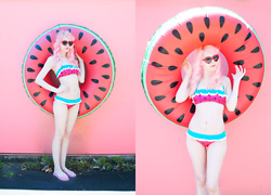 Kailey Flyte - Lazy Oaf Watermelon Bikini, Amazon Watermelon Pool Float - Watermelon Float