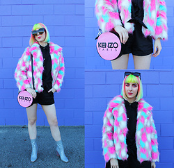 Kate Hannah - Tibbs & Bones Marshmallow Faux Fur Jacket, Wildfox Granny Sunglasses, T By Alexander Wang Tie Front Romper, Kenzo Bag, Public Desire Chloe Boot - I Don't Always Wear Black, But...