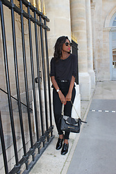 C'syl Cendrityss - H&M Skinny Jeans, Pull & Bear Mocassins, Mango Top, Asos Belt - All black