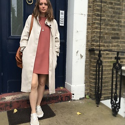 R F L - Cos A Line Wide Neck Dress, Monki Mac, Vans Linen - Blush