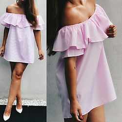 Fashion Statements By Q - Ruffle Off Shoulder Pink Dress, Primark Pink High Heels - The Pink Ruffle