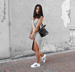 Karla P - Akira Ribbed Tank Dress, Diophy Patent Handbag - Shades of Grey
