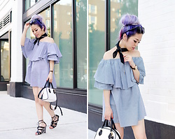 Aika Y - Sheinside Off The Shoulder Ruffle Dress, Urban Outfitters Black Bandana, Zara Mini Bag, Justfab Lace Up Sandals, Forever 21 Layered Necklace - Much Love For A Off The Shoulder Dress