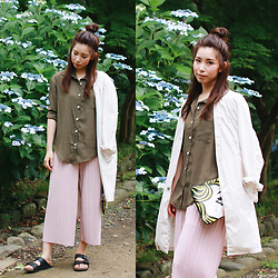Mizuho K - Shein Army Green Shirt, Shein Pleated Wide Leg Pants, Xoxohilamee More Details On - 2016/06/25