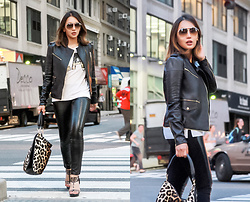 The Ambitionista - Thomas Wylde Black Leather Jacket, Thomas Wylde Leather Leggings, Lewre Couture Bespoke Heels, Maxmara Leopard Print Bag, Gucci Sunglasses, True Religion La Tee - Leather on Leather