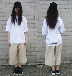 Mon M - Thrifted T Shirt, Homemade Culottes, Trainers, Cap - Protective