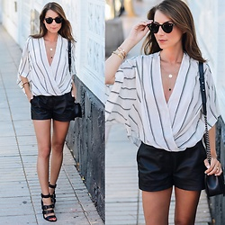 Stephanie Van Klev - Free People Top, Reserved Leather Shorts, Zara Sandals, Chanel Boy Bag, Zara Necklace, Ray Ban Sunglasses - Black & White