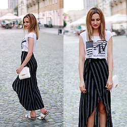 Adriana M. - Zaful Stripe Midi Skirt, New Yorker White Bag, Nik White Thongs - MTV child