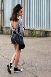 Charnelle Gardiner - Boohoo Grey Drape Back Top, Moschino Black Reworked Vintage Designer Shorts, Converse Black Hi Top Converses - Grey Drape Back Top