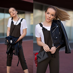 Silver Girl - Alexander Wang White T Shirt, Mango Khaki Jumpsuit, Zara Black Leather Jacket, Kenzo Kalifornia Bag, Urban Outfitters Red Bandana, 3.1 Phillip Lim Leather Mules - KHAKI CASUAL