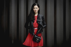 Sun Zibar - The Kooples Red Dress, The Kooples Silver Belt, Givenchy Obsedia Bag, Rick Owens Leather Jacket - Red
