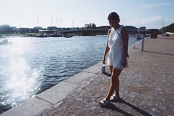 Mirella T. - Gina Tricot Romper, Birkenstock Sandals - All White Everything