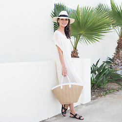 Tienlyn . - Knit Dress, Basket Weave Beach Tote, Panama Fedora - LONG WEEKEND