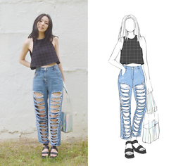Yonish - American Apparel Lulu Black Grid Tank, Stylewe High Waist Distressed Boyfriend Jeans, Ebay Clear Pvc Holographic Tote Bag, Boohoo Cleated Platform Sandals - Ripped jeans b slayin with stylewe