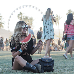 Iam Chouquette - Over My Body Playsuit, Chanel Backpack, Cowboy Boots, Hermes Cdc Cuff, Finest Seven Aviators - Festival Inspiration