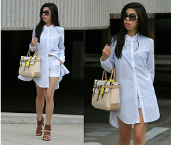 Adrienne Nguyen - Trouve Shirtdress, Reed Krakoff Boxer Tote, Zara Shorts, Jessica Simpson Brown Leather Strappy Heels - Semi-Lampshading
