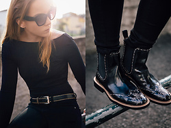 Silver Girl - Zara Open Back Bodysuit, Dolce & Gabbana Sunglasses, Rag & Bone Black Jeans, Zara Leather Ankle Boots, Fossil Stitched Belt - EXPRESSO