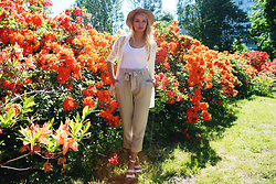 Madara L - H&M Panama Hat, H&M Lace Cardigan, Cortefiel High Waisted Pants, Ebay Quilted Bag - When rhododendrons were blooming