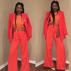 Gala F - Thrift Store Bright Orange Blazer, Thrift Store Vintage Gold Chain Belt, Buffalo Exchange Multicolored Animal Lapel Pins - .:: Orange Is The New Black ::.