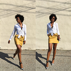 Marquise C Brown - Banana Republic Dillon Fit One Pocket Shirt, Forever 21 Contemporary Faux Leather Skirt - White & Banana